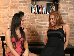 Ashley and mimi. Two hot transsexuals teasing and playing