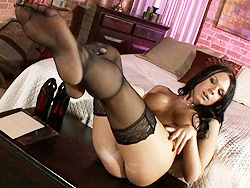 Pantyhose feet. Seductive Ashley George posing in horny pantyhose